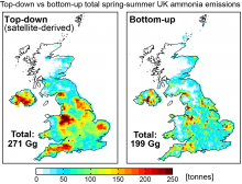 Map of UK ammonia emissions